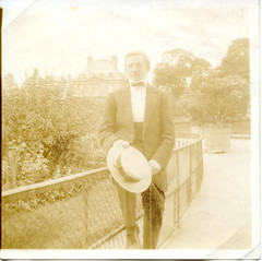 A walk in the park (elinor04 thanks for 27,000,000+ views!) Tags: park old trees man building hat fashion cane vintage fence outdoors glasses photo antique snapshot young bowtie style images collection suit walkingstick photograph age mens oldphoto 1910s oldphotograph past foundphoto gentleman citypark foundphotograph antiquephotograph foundphotos antiquephoto vintagephoto foundphotographs girardi bygone pincenez bygoneage elinorscollection hungariancollection elinorsvintagephotocollection