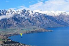 Queenstown, New Zealand (scinta1) Tags: queenstown newzealand lakewakatipu southisland flight paragliding water mountains snowline snow white blue lake cloud yellow sky extraordinarilyimpressive