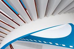 Some Prefer Red (yushimoto_02 [christian]) Tags: blue white abstract berlin azul architecture germany spiral deutschland arquitectura stair treppe escalera staircase alexanderplatz architektur ddr bauhaus blau gdr circular spiralstaircase abstrakt wendeltreppe hermannhenselmann henselmann alexanderstrasse alexanderstrase blinkagain