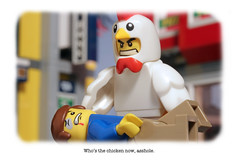 Who's the chicken now, asshole. (CitizenSandwich) Tags: chicken lego suit minifigures