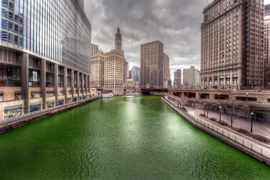 The Chicago River dyed bright green the day after St. Patrick's Day.