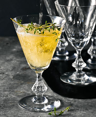 Vintage cocktail spritzer with Thyme (ChrisHynes_GHPstudio) Tags: food cold glass vintage crystal herbs drink juice champagne beverage fresh lemonade gourmet cocktail alcohol tray grapefruit soda citrus pour refreshing liquid fruity serving thyme refreshment cordial spritzer