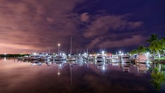 Black Point Marina (karinavera) Tags: longexposure travel reflection night marina ship florida miami blackpoint cutlerbay nikond5300
