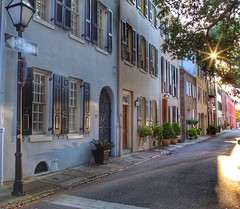 Downtown Charleston (toddmwise) Tags: lamp streetlight kingstreet gate windows gates window light sun reflection rainbowrow king canon6d hdr canon photography photo color lowcountry building trees street sunrise downtown charleston southcarolina sc