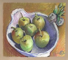 Khomin's Asian pears (Marcia Milner-Brage) Tags: stilllife fruit flowers pears mixedmedia neocoloriiwatersolublewaxpastels cansonwickercoloredscrapbook marciamilnerbrage brushpen