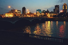 Night Fall on the River (backbeatb00gie) Tags: grandavenue bridge lights cityscape vsco iphone city outside nightfallontheriver concert bentonskatingplaza iowa downtown river night desmoines