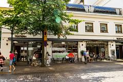 Restaurant Teatern (Jori Samonen) Tags: restaurant teatern street shadow tree people bicycle table chair building sun flare pohjoisesplanadi helsinki finland sony ilce3000 e 1855mm f3556 oss sonyilce3000 e1855mmf3556oss