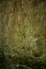 Huge discovery (A><EL) Tags: rock stone wall nature bkk hungary explore explorer girl woman blonde canon 700d