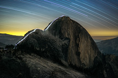 The Cable Route of Half Dome at Night (Kurt Lawson) Tags: 100mm a7r backpack cable cables california clouds dome granite half halfdome head headlamp high hike hiking lamp longexposure macro metabones milvus mount national night park path route sierra sierranevada sierras stacking star startrails stars summer summit trail trails trees watkins yosemite yosemitenationalpark zeiss