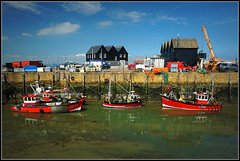 Fishing boats, Whitstable (Jason 87030) Tags: sony alpha a6000 ilce flicjkr tag boats nets craft vessels whitstable fishing port harbour uk england gb mackeral chips cockles sea coast water summer sky sunny red nice look scene view reflection busy august holiday 2016 kent