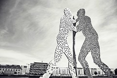 Mnage--trois or... (catarinae) Tags: mnagetrois statue spree river berlin city bw black white sculpture art 1999 molecule man molecules all human beings coming together create our existence jonathan borofsky artist three deutschland germany capital