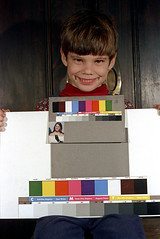 33-661 (ndpa / s. lundeen, archivist) Tags: nick dewolf nickdewolf 33 reel33 color photographbynickdewolf 1970s 1972 fall film 35mm winter 1973 child boy son ivan colortest shirleycard colors grayscale spectrum boston massachusetts smile smiling