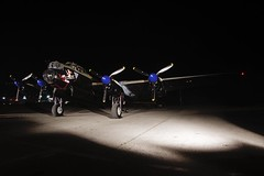 Ready to fire up (Stephen Gardiner) Tags: hamilton ontario 2016 canadianwarplaneheritagemuseum lancster flyingfortress mitchell worldwar2 b17 b25 avro boeing northamericanaviation night plane aircraft propeller noseart pentax k3ii 1645