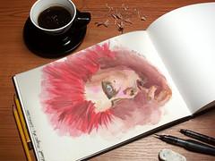 MattBellamy inspired (S-a-s-a) Tags: ilustracin illustration portrait retrato matt bellamy muse singer inspiracion inspiration cantante redhair pelirrojo pelo rojo acuarela watercolor
