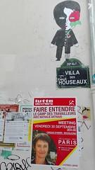 Villa des houseaux, Paris XX (Jeanne Menj) Tags: fredlechevalier roserouge lo lutteouvrire travailleurs nathalieartaud collage affiche streetart