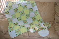 Baby Boy Jungle Rag Quilt Gift Set (J Taylor Quilts) Tags: baby boy rag quilt jungle gift set bibs diaper strap burp cloths