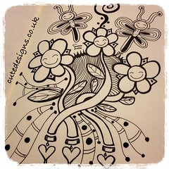 Happy Flowers (cutedesigns) Tags: flowers white black cute art illustration ink happy drawing doodle kawaii zentangle uploaded:by=flickrmobile flickriosapp:filter=nofilter