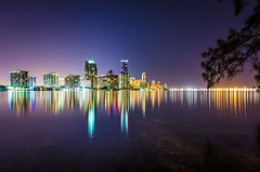 Miami Downtown (Yuanshuai(TIM) Si) Tags: longexposure reflection water skyline landscape lights cityscape skyscrapers florida miami limit biscaynebay peacefulbay miamidowntown 15mmf4 peacefulnight nightmiami hobieislandbeachpark pentaxart pentaxk5 yuanshuaisi southeastofunitedstates