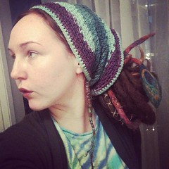 messy bun (lucidRose) Tags: handmade crochet peacock etsy tiedye dreads hairwrap updo messybun dreadtube uploaded:by=instagram