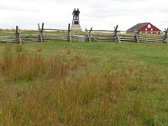8893 Excelsior Field (lcm1863) Tags: autumn fall monument field barn rural fence pennsylvania scenic meadow gettysburg firemen battlefield 2010 bankbarn