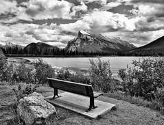 Banff Getaway (Jeff Clow) Tags: mountain lake nature bench getaway mountrundle albertacanada banffnationalpark canadianrockies tpslandscape