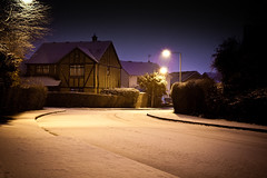 January Snow (Cherryrig) Tags: road uk winter snow night snowflakes lights nikon streetlights path adobe gloucester slowshutter remote fx manfrotto lightroom mc36 d700 cherryrig 055cxpro3 50mmf14afsg 498rc2