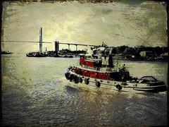 (Artypixall) Tags: bridge texture river tugboat savannahga