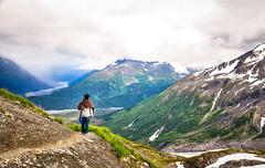 man and mountain (Salil Wadhavkar) Tags: snow alaska nikon hiking glacier trail valley seward exitglacier kenaifjords 18105 hardingicefield d90 kenaifjordsnationalpark hardingicefieldtrail hikinginalaska