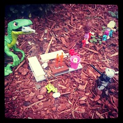 Caption please... (GI Brick) Tags: friends brick lego dinosaur campfire knight minifig gi brickarms m1919 flickrandroidapp:filter=none
