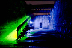 Green stairs, or blue door (SerelSnauw - DigitalSkills.nl) Tags: nightphotography night canon nightshots duisburg landschaftpark tamron1750 eos60d digitalskills serelsnauw