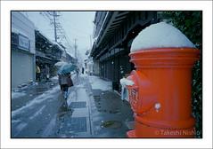 雪の日、丸ポストの前で / Snowy day, at cylindrical post