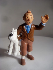 Tintin with Snowy 4278 (Brechtbug) Tags: from sculpture dog film statue by comics movie french toy toys tin comic belgium action snowy character coat cartoon running run plastic trench strip captain figure tintin adventures haddock herge the 2013