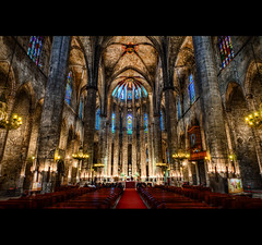 Wedding Ceremony - Barcelona, Santa Maria del Mar (LaTietze) Tags: barcelona church photoshop spain europa europe bcn kirche wideangle hdr spanien santamariadelmar photomatix tonemapping nikond7000 mygearandme mygearandmepremium mygearandmebronze mygearandmesilver mygearandmegold mygearandmepla