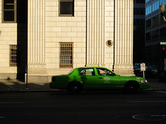Cab Stand, Portland Oregon (Blinking Charlie (away)) Tags: street urban usa oregon portland cab taxi lightandshadow 2012 usbank swbroadway pilasters fordcrownvictoria unitedstatesnationalbank canonpowershots100 greencab blinkingcharlie