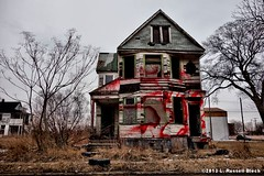 Home Decor (TooLoose-LeTrek) Tags: red house graffiti decay tag detroit abandon writer wallstreet economy blight