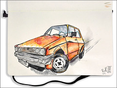 VW Golf I (rafaelmucha) Tags: auto color moleskine water car vw ink golf volkswagen notebook sketch sketchbook copic aquarell