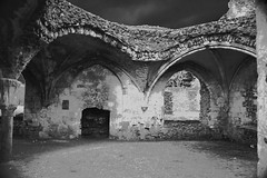 Waverley Abbey, Farnham Infrared Edit (Rebecca Sharplin Hughes) Tags: old uk longexposure trip travel light england sky blackandwhite white rot tower nature water abbey grass architecture digital canon project river dark outside ruins waiting exposure university pretty experimental glow quiet photographer natural edited empty wildlife ghost rustic ruin grow experiment freezing monk ground surrey holes haunted infrared dreamy uni grainy everyday past desolate processed printed destroyed hdr waverly farnham waverley dated enviroment dormetries