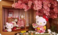 Hello Kitty { sakura doll-house } (charles fukuyama) Tags: wood flower cute art cat miniature handmade hellokitty decoration kitty sakura lovely custom dollhouse sculpted claydoll kikuike