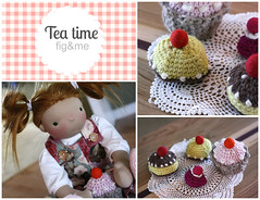 A doll tea party. (Fig & Me) Tags: handmade mueca ningyo playfood poupe popje dollplay stoffpuppe puppenkinder figandme figlette
