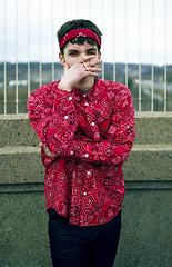 Guapo of the Saints (McCallaman) Tags: bridge red portrait toronto fashion shirt youth 35mm vintage nikon downtown suicide hipster saints rings lamar hip yonge bandana 18 guapo kendrick trill crips pirus 18g d3100