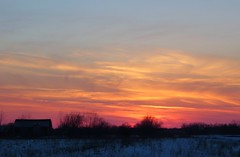 Last shot of the day (rkramer62) Tags: winter sunset sky snow color clouds barn michigan grandville rkramer62