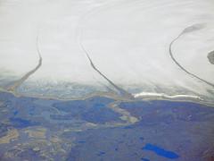 Aerial view of glaciers, Auyuittuq National Park, Baffin Island, Nunavut, Canada (cocoi_m) Tags: lake canada nature glacier arctic geology glacial geomorphology baffinisland aerialphotograph pangnirtung auyuittuqnationalpark terminalmoraine medialmoraine nunuvut pennyicecap