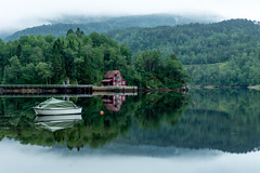 Reflection and fog [Explore #6] (Richard Larssen) Tags: sea bw house reflection green norway fog forest landscape mirror boat norge cabin long exposure norwegen 106 filter richard nd flekke scandinavia sal a77 moist sogn fjordane 1650 fjaler nd106 larssen