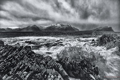 Rain, wind and waves (Usstan) Tags: winter sea sky bw seascape mountains water rain norway clouds lens landscape norge drops nikon day waves seasons wind no wideangle rough nikkor westcoast locations costal sunnmøre møreogromsdal define runde colorefexpro herøy niksoftware 1685mm d7000 silverefexpro