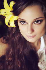 Little Flower (AnnuskA  - AnnA Theodora) Tags: portrait brown flower girl beautiful beauty yellow closeup hair big eyes long curly eyed brunette 3amodelsshots