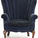 97. 1940s Velvet Upholstered Fan Back Chair