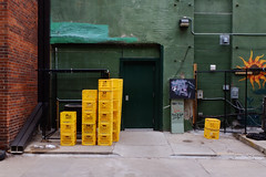 stacks of yellow crates (It'sGreg) Tags: 361 greenwalls thursdaywalk twobirdsonestone utata:project=tw larkingaboutinalleys yellowplasticcrates nowthisisaclassyalley
