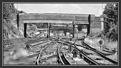 04.07.16 Distant Rumble.. (Tadie88) Tags: nikond7000 nikon18200lens norwoodjunction london stations tracks signals platforms bridges blackwhite railwayviews