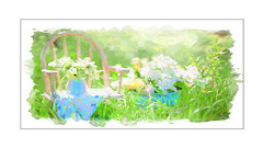 "Summer Setting (G. H. ""Jerry"" White) Tags: summer chair vase flower blue yellow green grass daises wood topaz impression painterly 1920x1080 wallpaper free whitebackground photoborder"