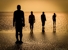 Another Place with Humans (MyWorldThroughMyLens) Tags: metropolitanboroughofsefton england unitedkingdom gb lowsun sunset beach seascape sea seaside anotherplace gormley antony water statue